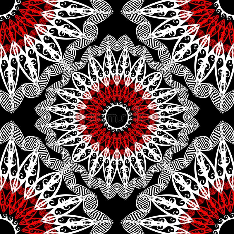 Kant bloemen Grieks vector naadloos patroon Etnische stijl sier abstracte achtergrond vector illustratie