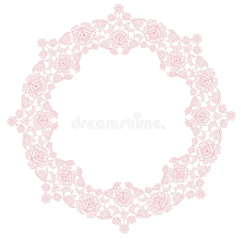 Kant bloemenkader royalty-vrije illustratie