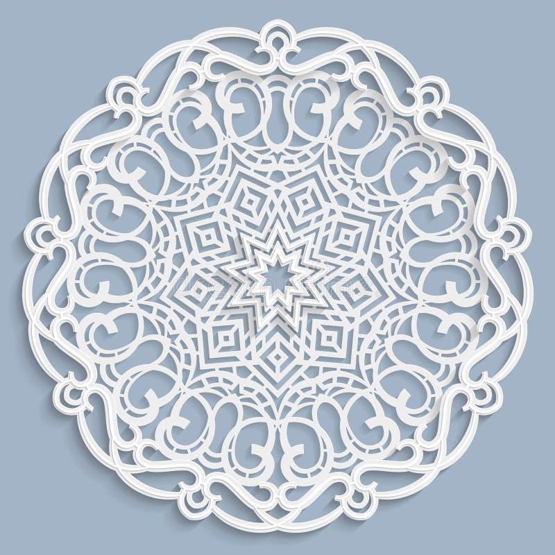 Kant 3D mandala, rond symmetrisch openwork patroon, kanten doily, decoratieve sneeuwvlok, Arabisch ornament, Indisch in reliëf ge stock illustratie