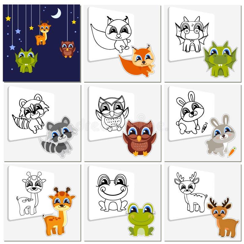 Kant-en-klare oplossing het kleuren boek vastgestelde vrolijke dieren stock illustratie