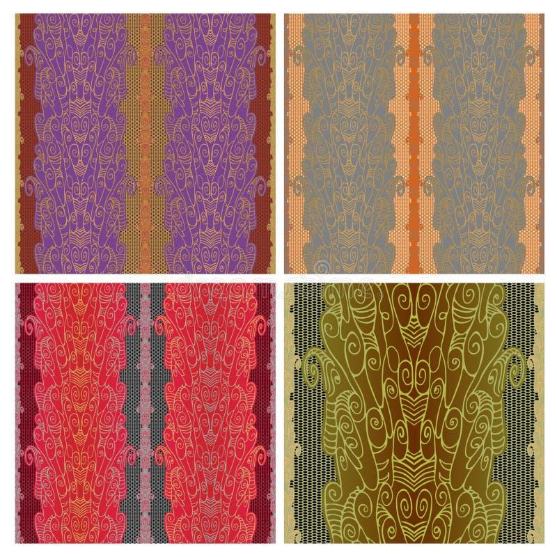 Kant naadloos patroon met een net Abstracte lijntekening met spiralen en wervelingen van stof of behang stock illustratie