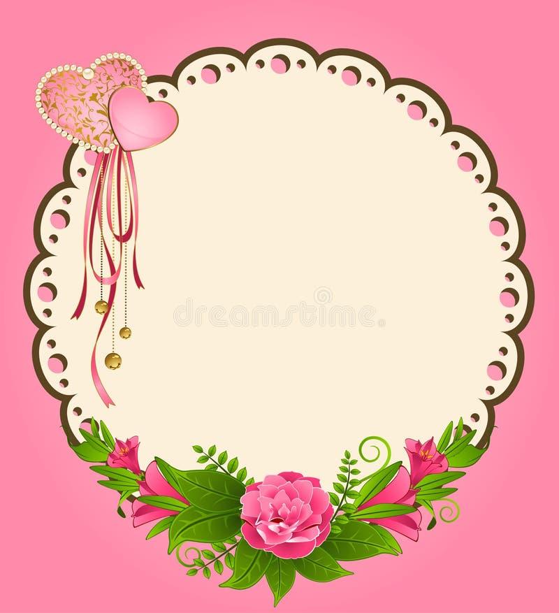 kant ornamenten en bloemen stock illustratie