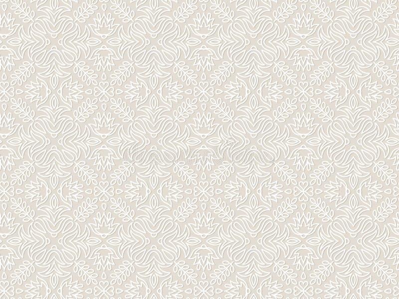 Kant uitstekend bloemen vector naadloos patroon stock illustratie