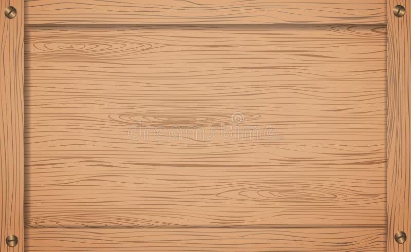 Kant van bruin houten krat, doos of kader met schroeven vector illustratie