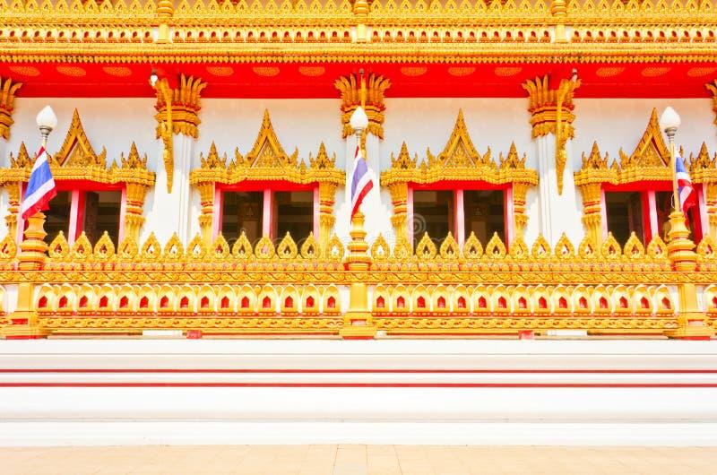 Kant van Gouden pagode bij de Thaise tempel, Khonkaen Thailand stock afbeeldingen