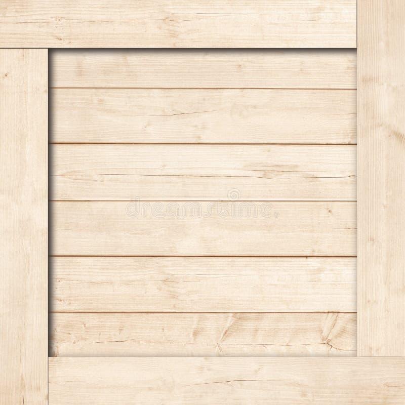 Kant van vierkant bruin houten krat, vakje, planken of kader voor tekst of bericht royalty-vrije stock afbeeldingen