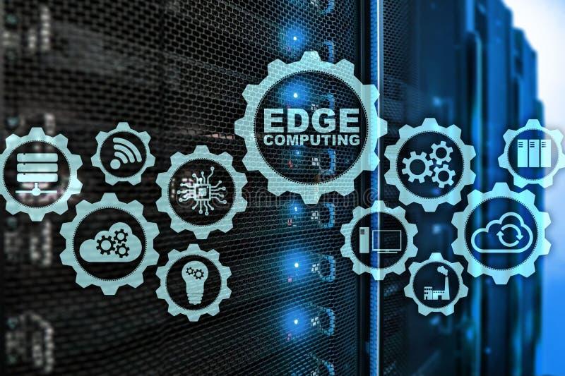 KANTA BERÄKNING på modern serverrumbakgrund Informationsteknik och affärsidé för den intensiva resursen stock illustrationer