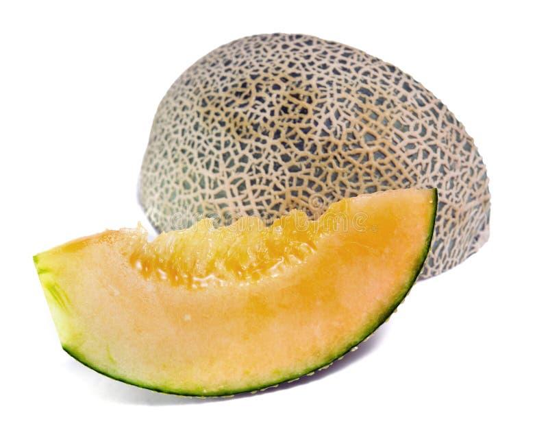 Kantaloep of Charentais-meloen op wit wordt geïsoleerd dat royalty-vrije stock fotografie