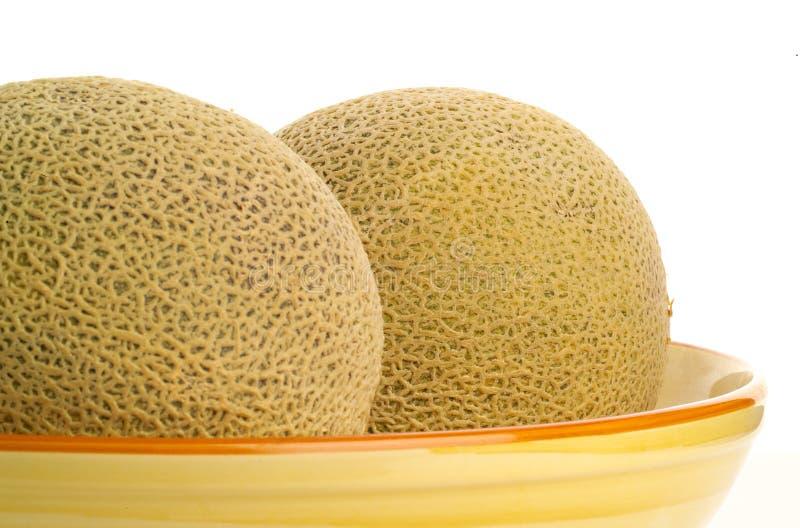 Kantalupe-Melonen in einer Schüssel lizenzfreies stockfoto