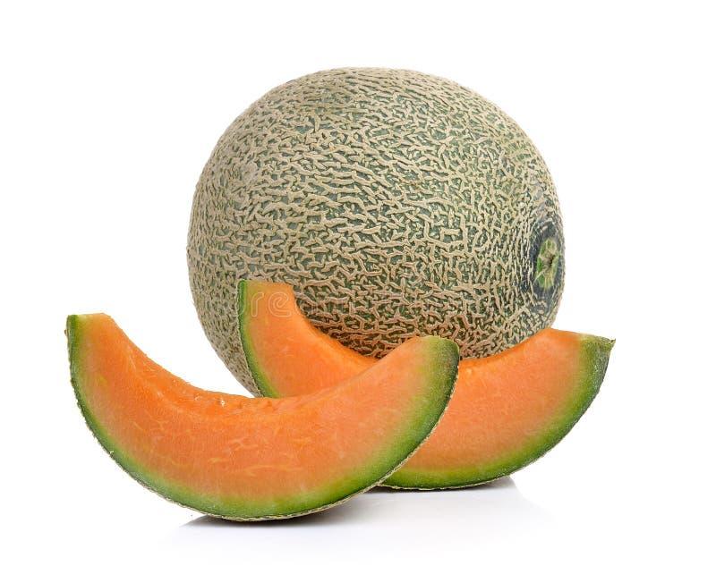 Kantalupenmelone lokalisiert auf weißem Hintergrund lizenzfreie stockbilder