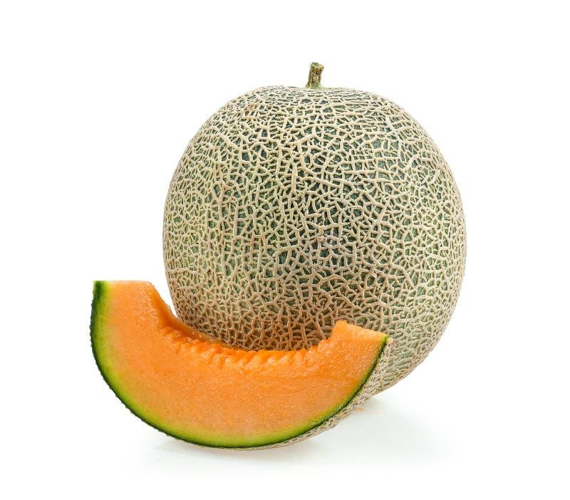 Kantalupenmelonenscheiben lokalisiert auf weißem Hintergrund lizenzfreie stockfotografie