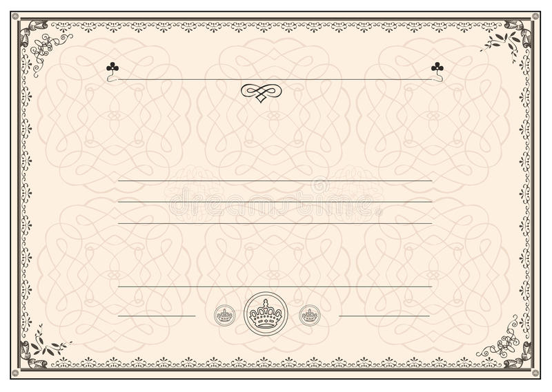 kantcertifikatram royaltyfri illustrationer