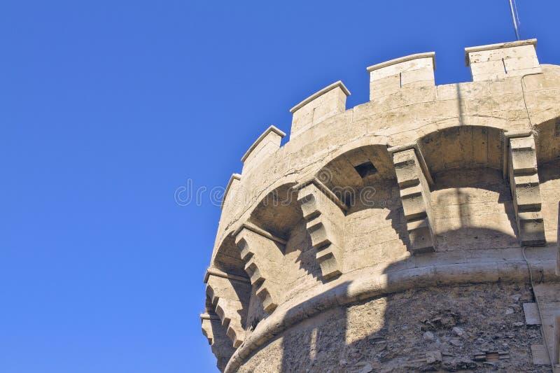 Kantelen in de toren van Kwart gallon Valencia stock foto