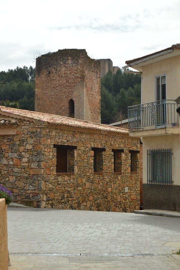 Kantelen van het Kasteel van Don Juan Manuel Of The XIV Eeuw in Cifuentes Architectuur, Godsdienstreis stock fotografie