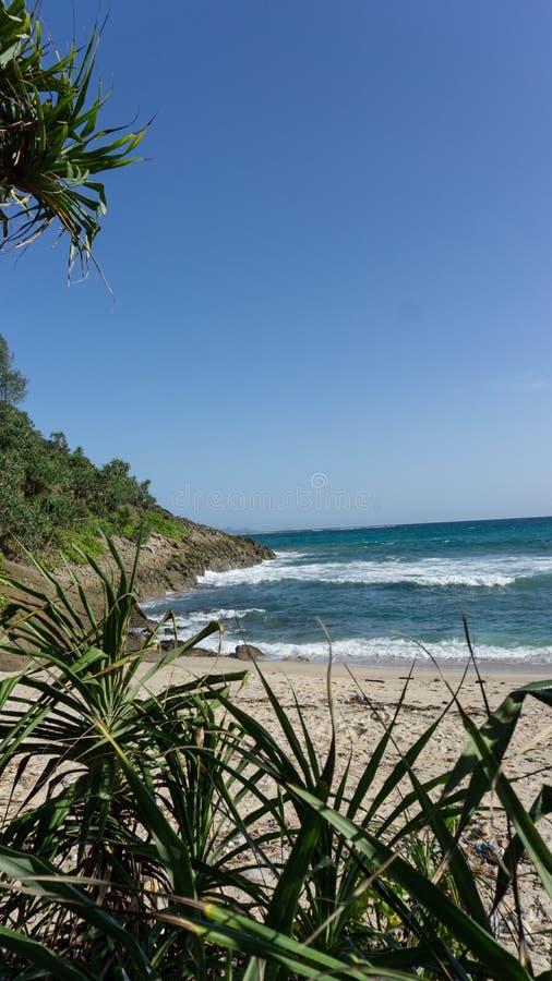 Kanten av ön och sandstranden royaltyfria bilder