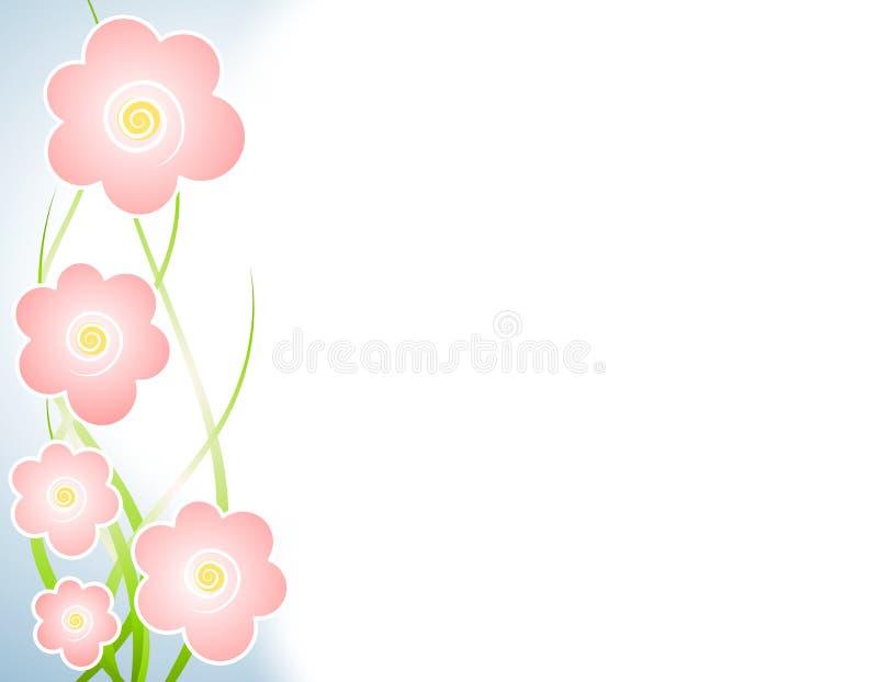 kanten blommar vänster lampa - rosa fjäder royaltyfri illustrationer