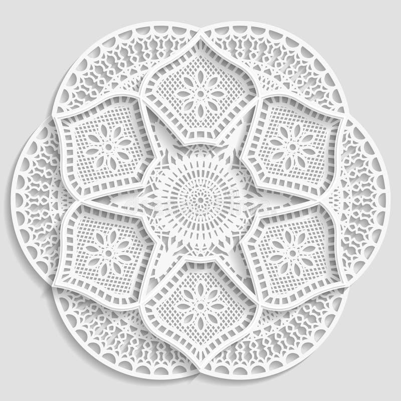 Kanten document doily, decoratieve bloem, decoratieve sneeuwvlok, kanten mandala, kantpatroon, Arabisch ornament, Indisch ornamen stock illustratie