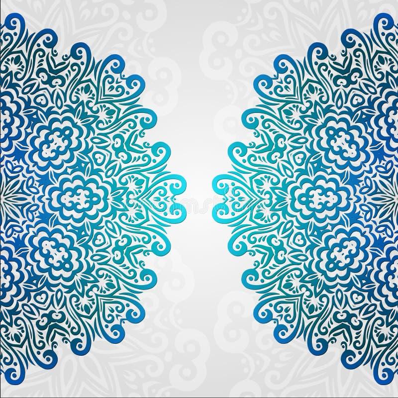 Kanten etnisch vectorfotokader Het abstracte bloemenornament van de grungecirkel royalty-vrije illustratie