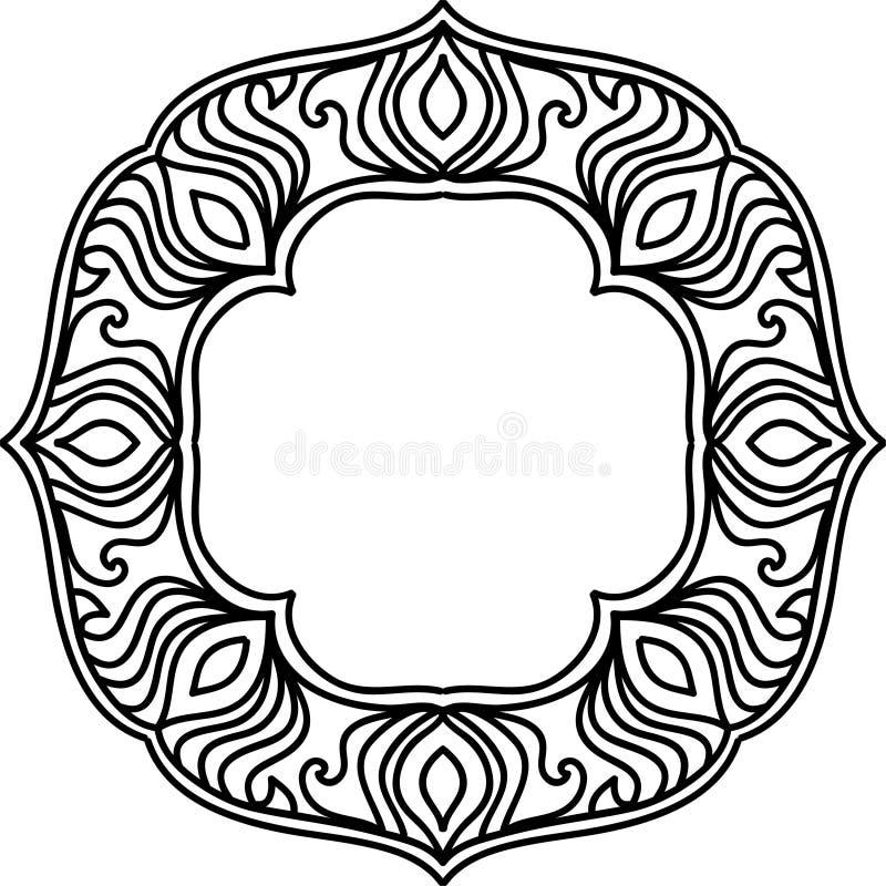 Kanten mandala Uitstekend decoratief element Oosters patroon stock illustratie
