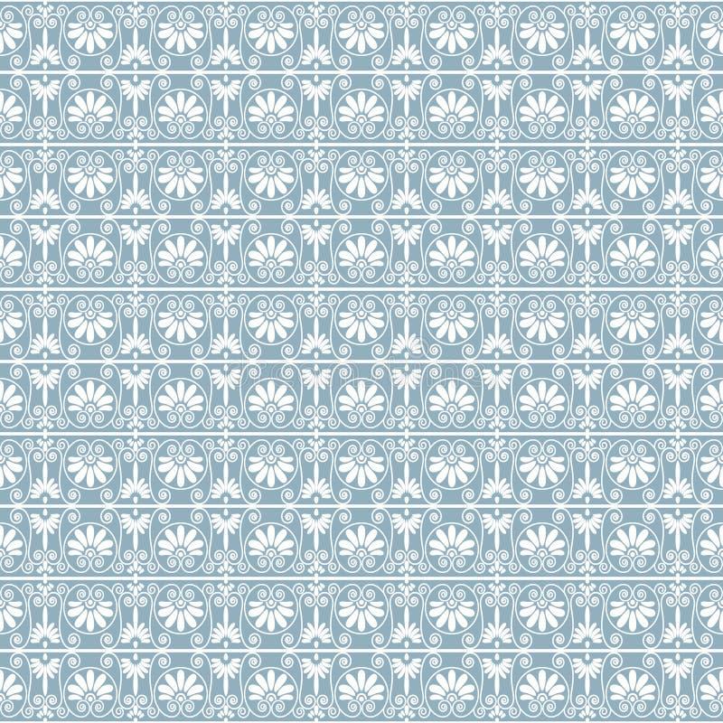 Kanten sier naadloze patroonachtergrond in witte en blauwe grijze kleuren stock illustratie