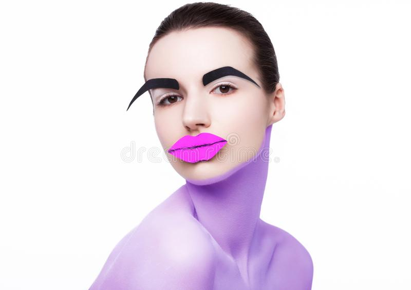 Kanter för vit makeup för hud för skönhetmodemodell röda royaltyfria foton