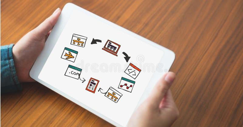 Kantjusterad bild av handen på tabellen genom att använda den digitala minnestavlan med olika symboler royaltyfri foto
