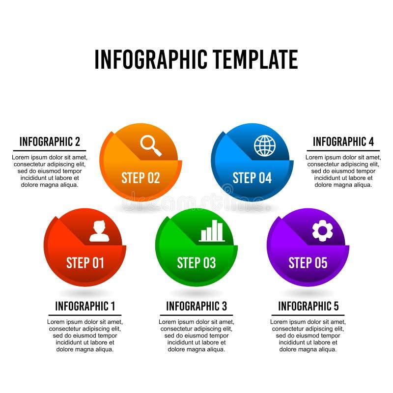 Kantjusterad infographic designmall för cirkel stock illustrationer