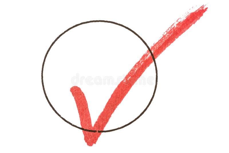 Kantjusterad röd krok i svart cirkel som ett symbol för gjord uppgift vektor illustrationer