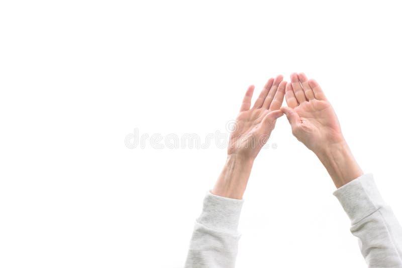 kantjusterad sikt av kvinnan med händer upp, royaltyfria bilder