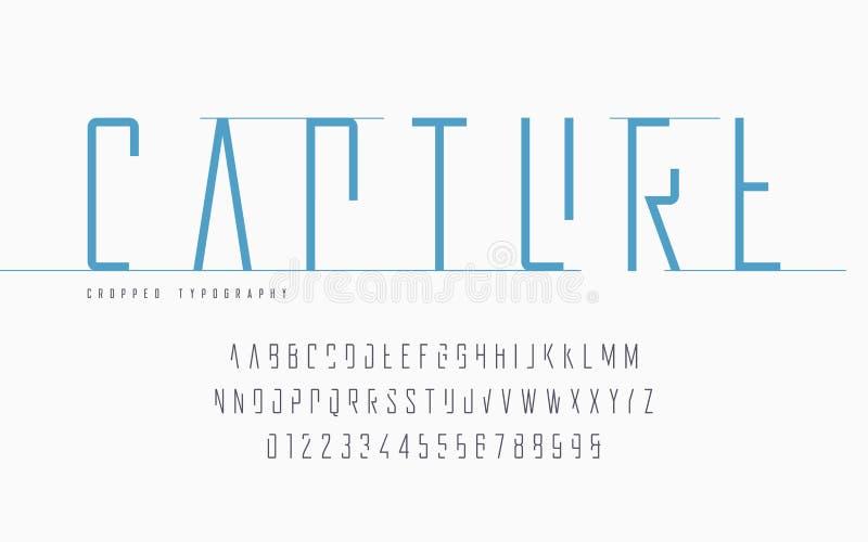 Kantjusterad typografi, ställde in av stora bokstavsbokstäver och nummer, alfabet stock illustrationer