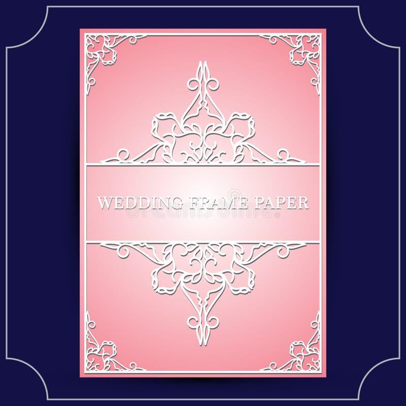 Kantkader met knipseldocument decoratie, het vectorgroetkaart of malplaatje van de huwelijksuitnodiging met uitstekende decoratie royalty-vrije illustratie