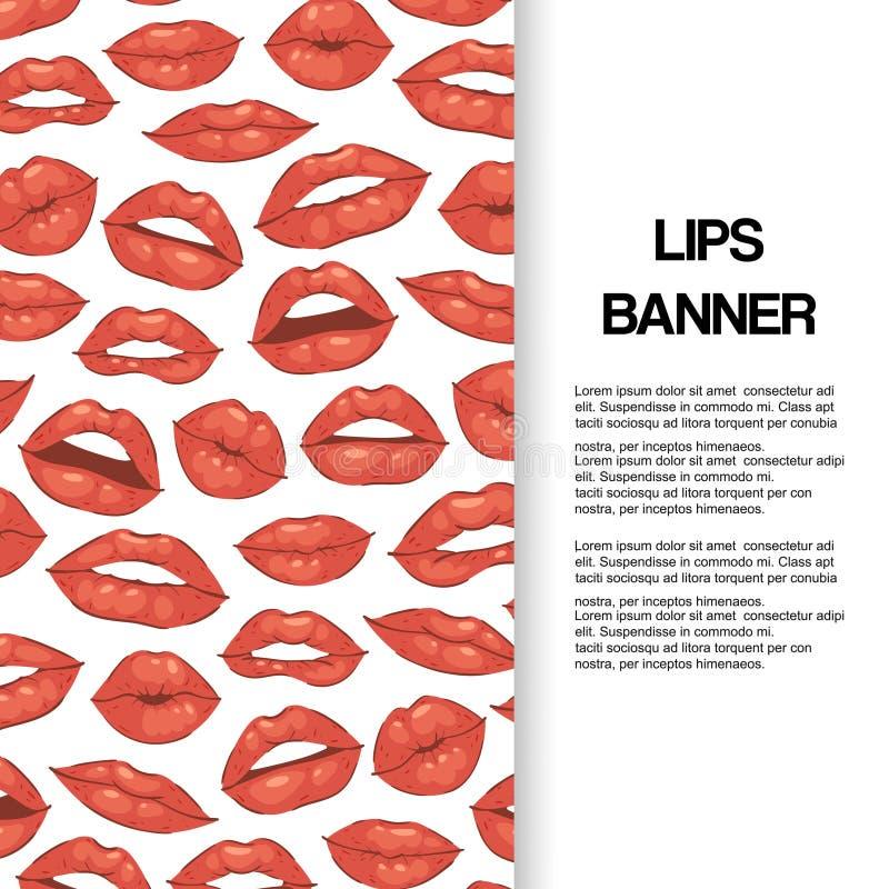 Kantkyss, öppen mun med illustrationen för tecknad film för tandbanervektor Härliga röda kanter eller modeläppstift och sexigt royaltyfri illustrationer