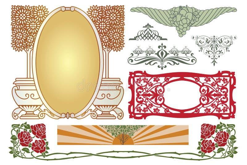 kantlagrar låter vara vektorn för oakbandmallen Annonseringar, reklamblad, rengöringsduk, bröllop och andra inbjudningar eller hä stock illustrationer