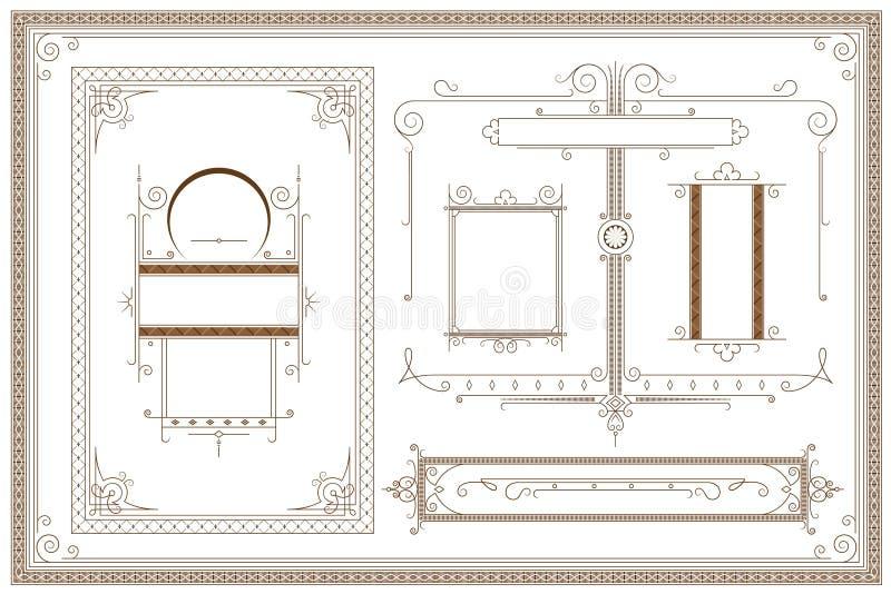 kantlagrar låter vara vektorn för oakbandmallen Annonseringar, reklamblad, rengöringsduk, bröllop och andra inbjudningar eller hä royaltyfri illustrationer