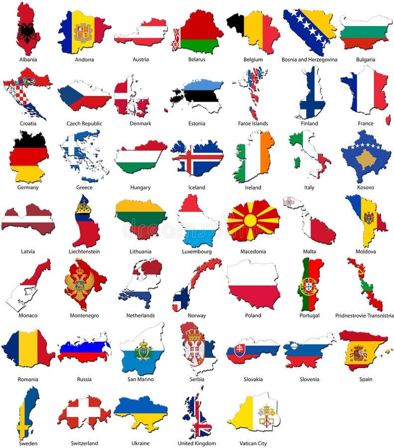 kantlandsEuropa flaggor ställde in världen stock illustrationer