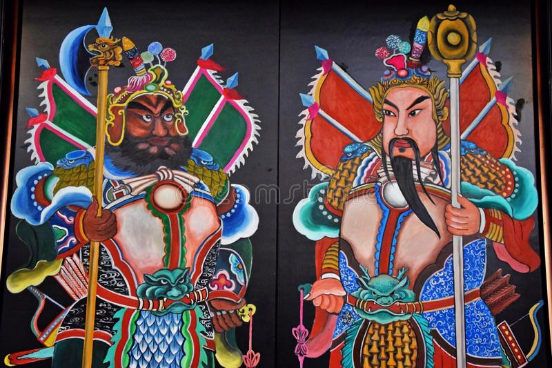 KANTON, CHINY, OKOŁO GRUDZIEŃ 2016: Obraz drzwiowi bóg w Chińskiej ludowej religii zdjęcia royalty free