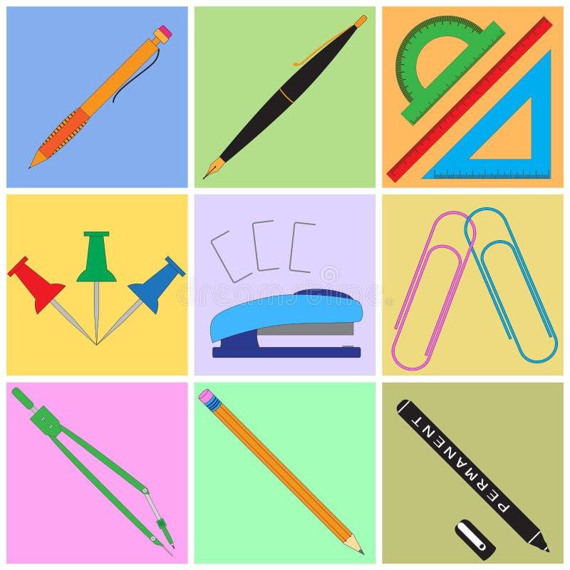 Kantoorbehoeften met kleurrijke achtergronden wordt geplaatst die stock illustratie