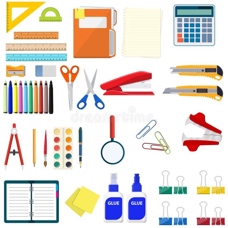 Kantoorbehoeften vastgestelde pictogrammen stock illustratie