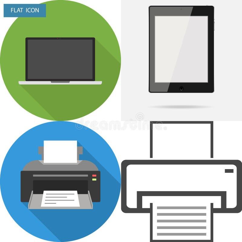 Kantoorbenodigdheden, laptop, printer, tablet stock illustratie