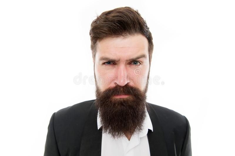 Kantoormedewerker Een knappe bebaarde zakenman draagt een formeel pak Vogelhaar en grooming Modemodel met lange adem royalty-vrije stock foto's