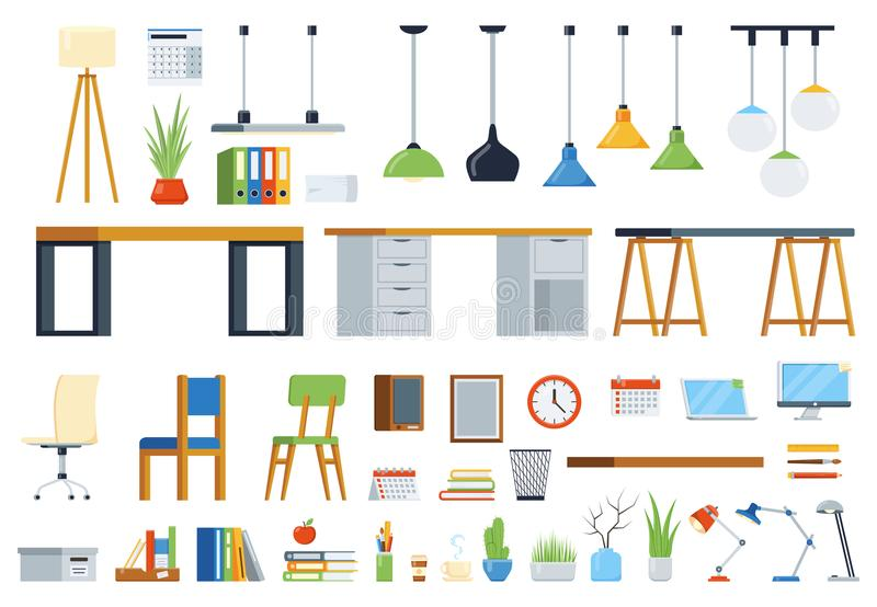 Kantoormeubilair, toebehoren en installaties Verwezenlijkingsuitrusting van werkplaats stock illustratie