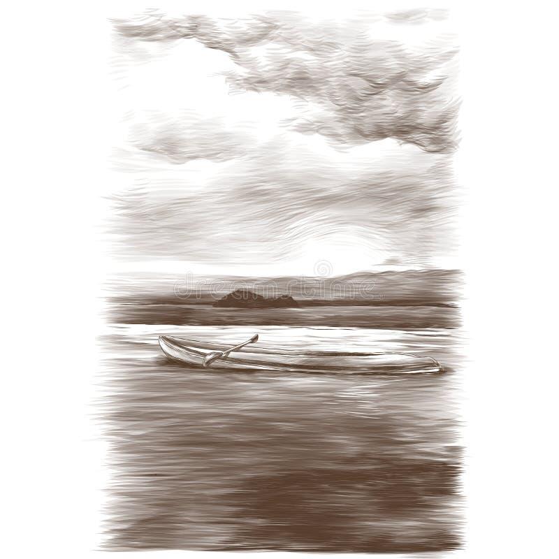 Kanu, das auf Wasser auf Meer und kleinen Inselhintergrund im Abstand schwimmt lizenzfreie abbildung