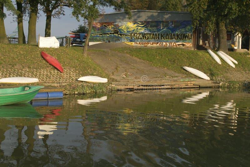 Kanuhafen auf dem Oder stockfoto