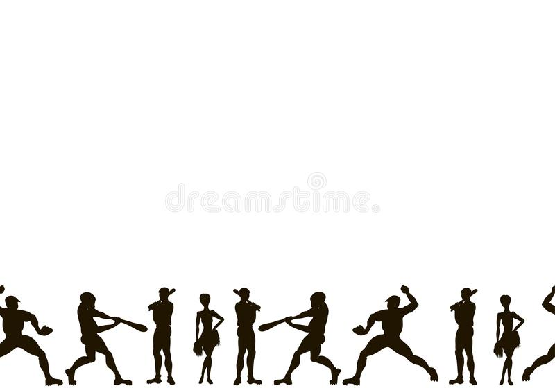 kanwa Wektorowa ręka rysować sylwetki gracze baseballa C ilustracji
