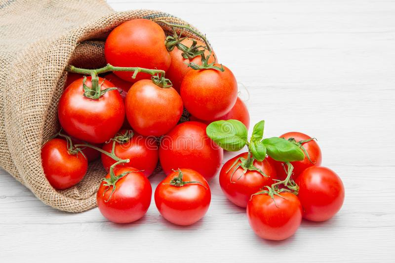 Kanwy workowy pełny czerwoni czereśniowi pomidory zdjęcia stock