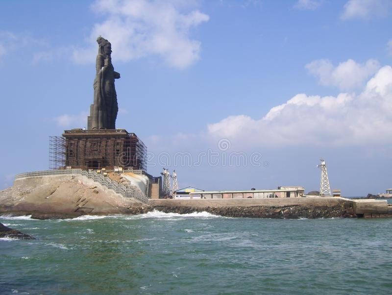 Kanyakumari, Tamil Nadu, India - October 7, 2008 Huge gray color stone Thiruvalluvar Statue stock photos