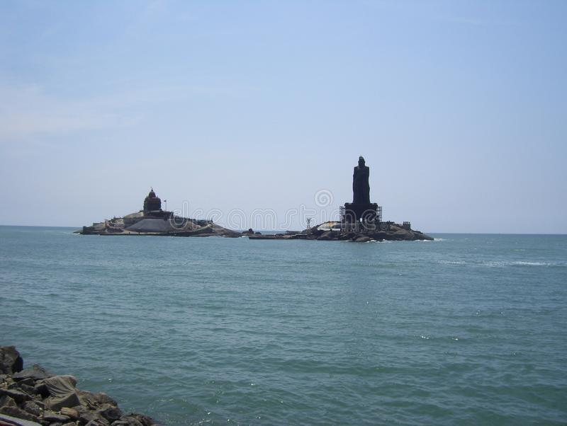 Kanyakumari, Tamil Nadu, India - October 7, 2008 Vivekananda Rock Memorial and Thiruvalluvar Statue on small islands royalty free stock image