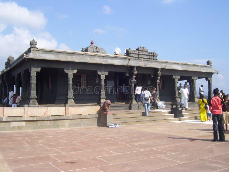 Kanyakumari Tamil Nadu, Indien - Oktober 7, 2008 grå färger färgar den stenShripada Mandapam templet fotografering för bildbyråer