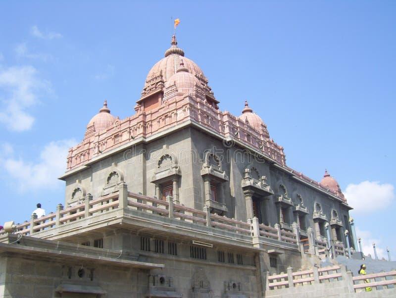 Kanyakumari Tamil Nadu, Indien - Oktober 7, 2008 stenar templet, och monumentet av Vivekananda vaggar minnesmärken arkivfoto