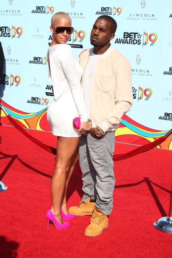 Kanye West, Amber Rose imagens de stock royalty free
